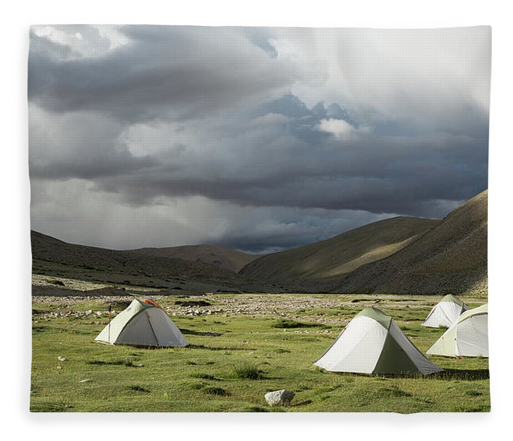 Tranquility Fleece Blanket featuring the photograph Atmospheric Grassy Camping by Jamie Mcguinness - Project Himalaya