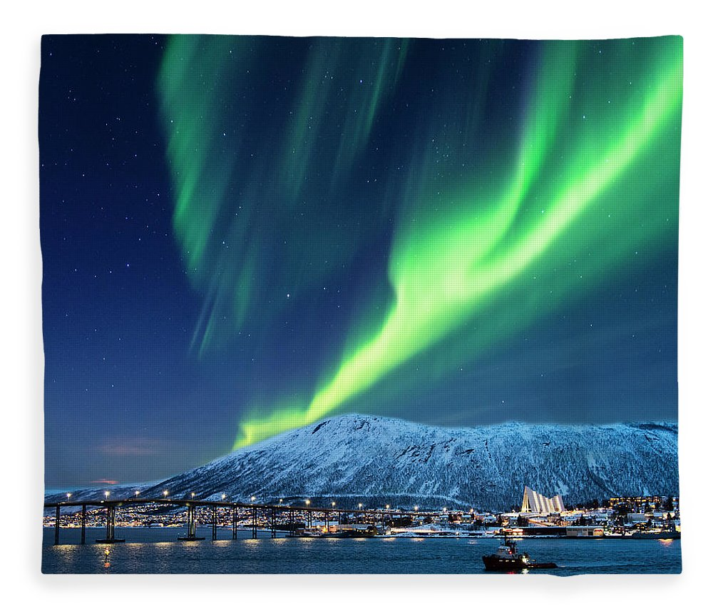 Scenics Fleece Blanket featuring the photograph Aurora Borealis Over Tromso Port by Mike Hill