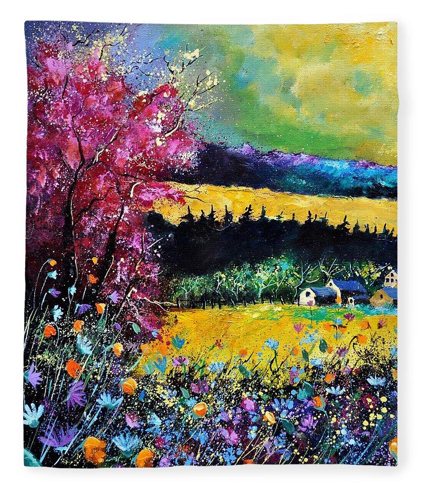 Landscape Fleece Blanket featuring the painting Autumn flowers by Pol Ledent