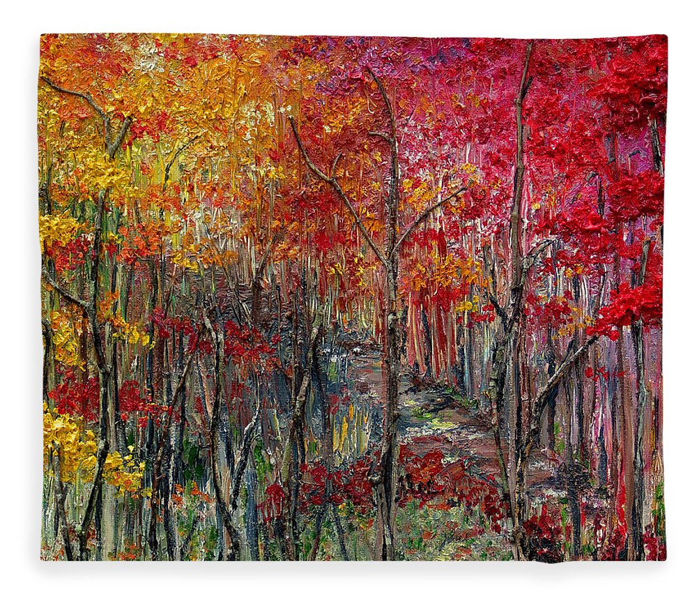 Autumn Fleece Blanket featuring the painting Autumn In The Woods by Karin Dawn Kelshall- Best
