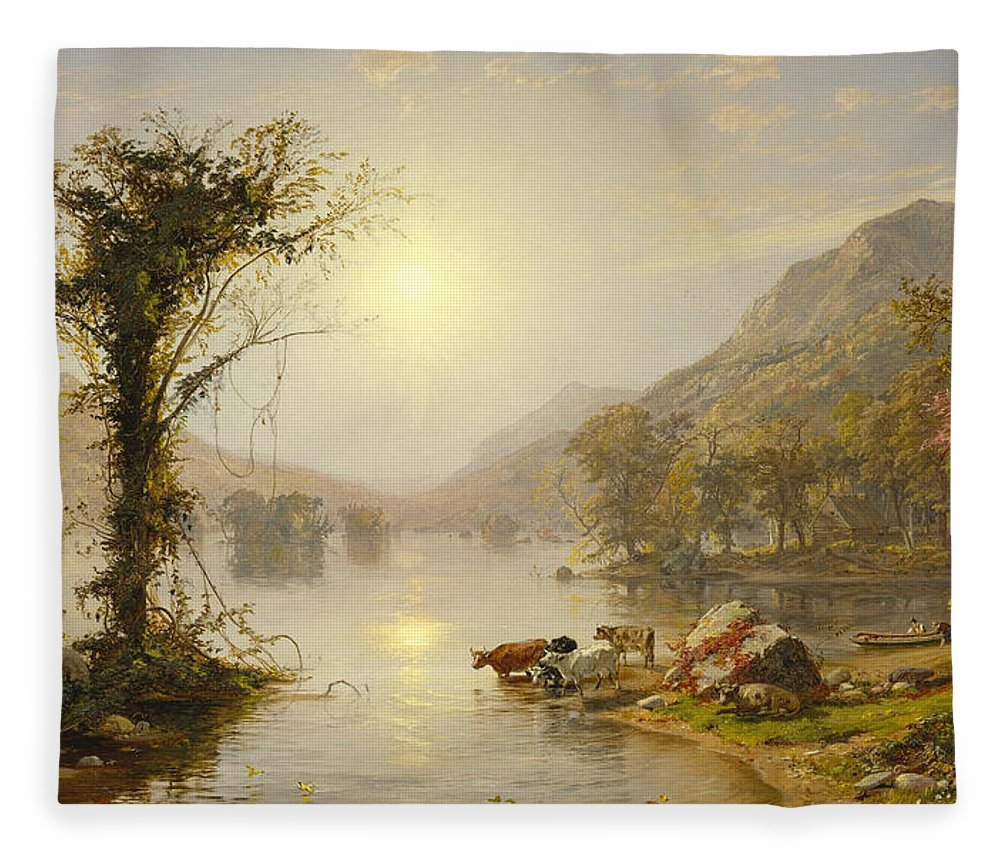 Jasper Francis Cropsey Fleece Blanket featuring the painting Autumn On Greenwood Lake by Jasper Francis Cropsey