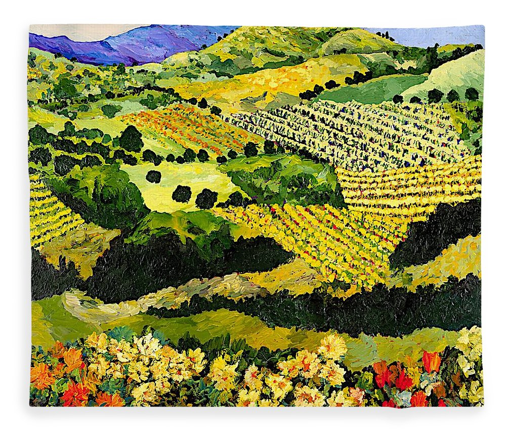 Landscape Fleece Blanket featuring the painting Autumn Remembered by Allan P Friedlander