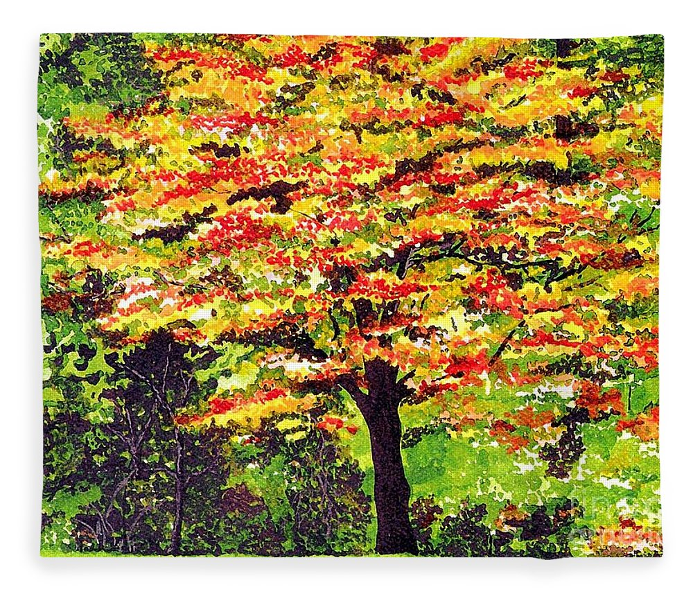 Fine Art Fleece Blanket featuring the painting Autumn Splendor by Patricia Griffin Brett