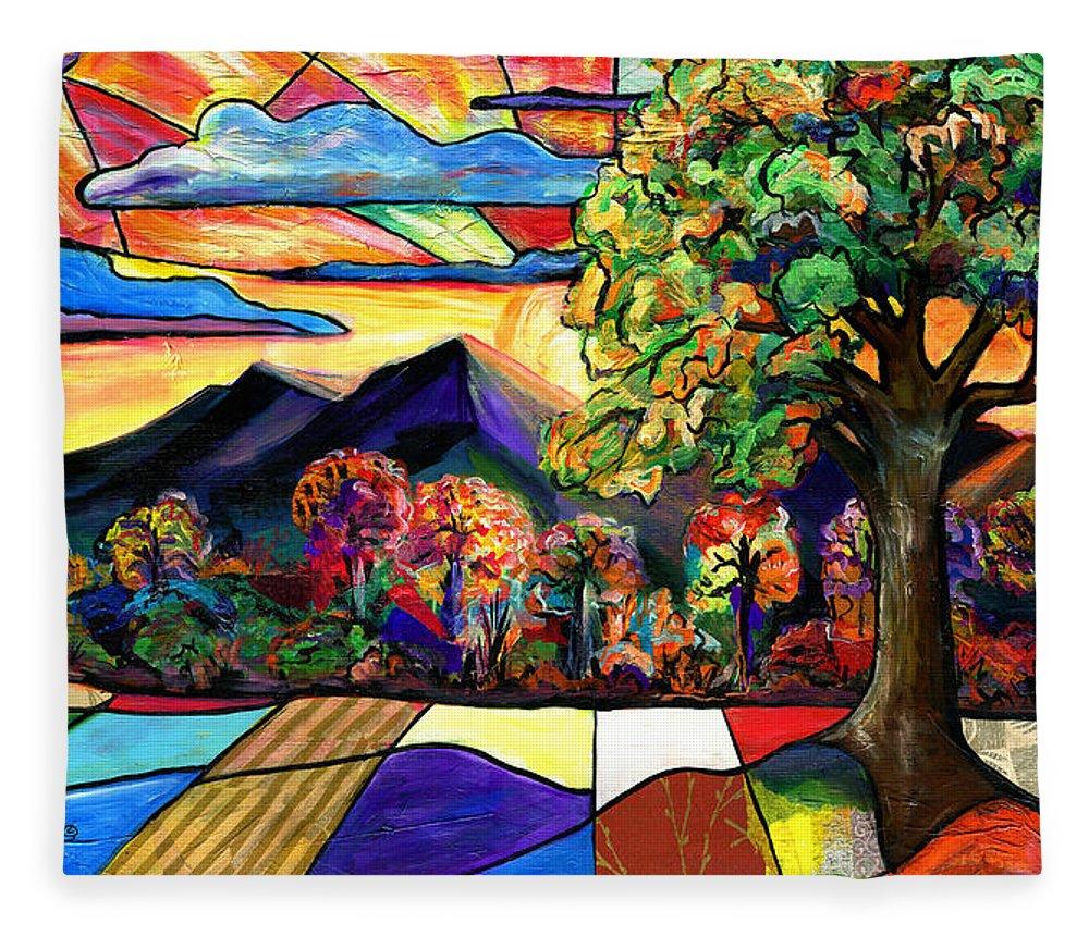 Everett Spruill Fleece Blanket featuring the painting Autumn Sunrise by Everett Spruill
