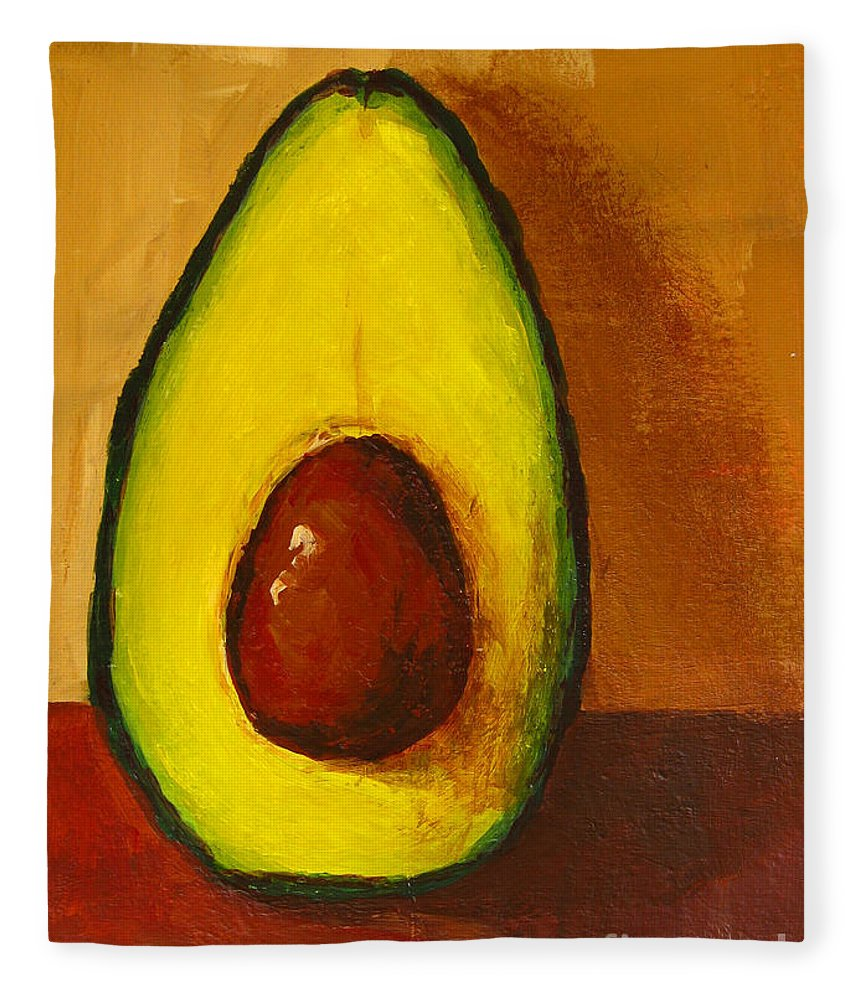 Art Fleece Blanket featuring the painting Avocado Palta 7 - Modern Art by Patricia Awapara