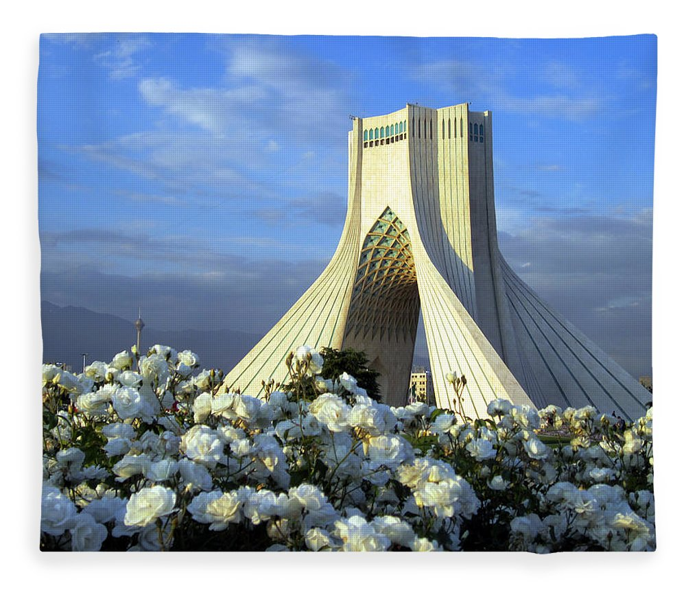 Tranquility Fleece Blanket featuring the photograph Azadi Tower In Tehran by Photo By David Stanley