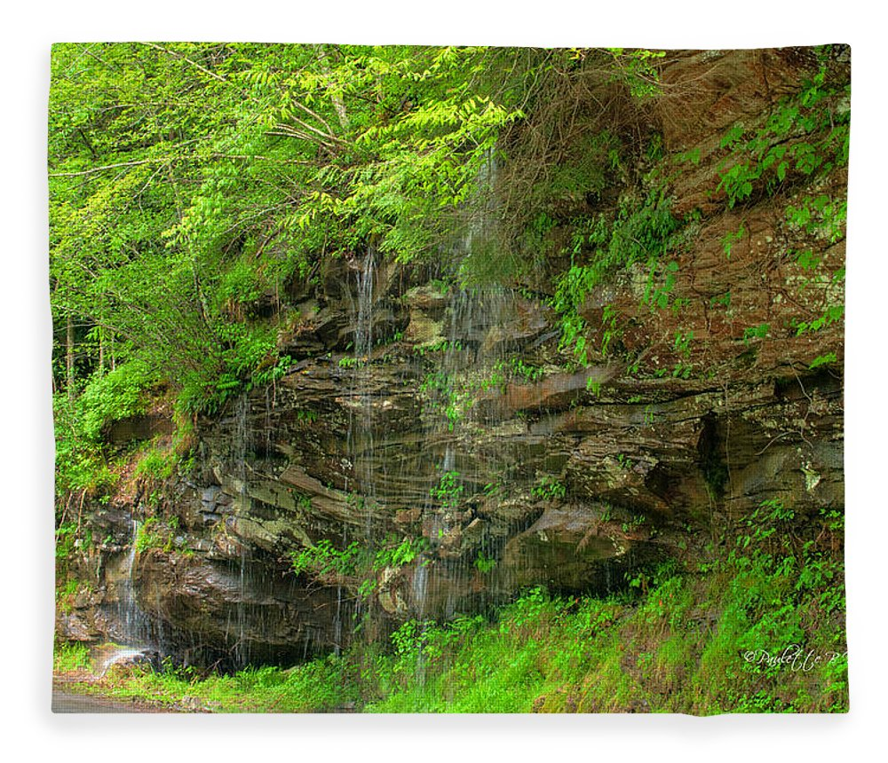 Feature Art Fleece Blanket featuring the photograph Backroads Waterfall In West Virginia by Paulette B Wright