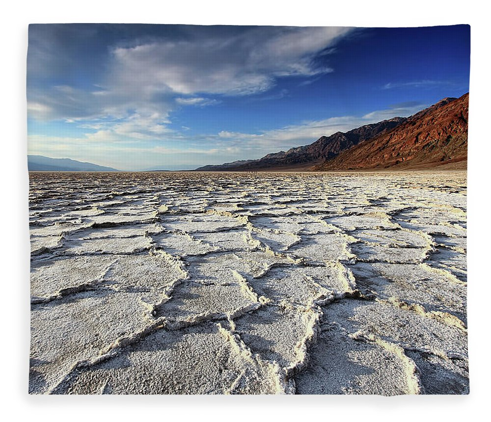 Tranquility Fleece Blanket featuring the photograph Badwater Salt Flats Before Sunset by David Toussaint