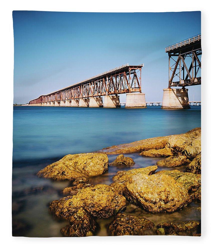 Seascape Fleece Blanket featuring the photograph Bahia Honda State Park Florida by Ferrantraite
