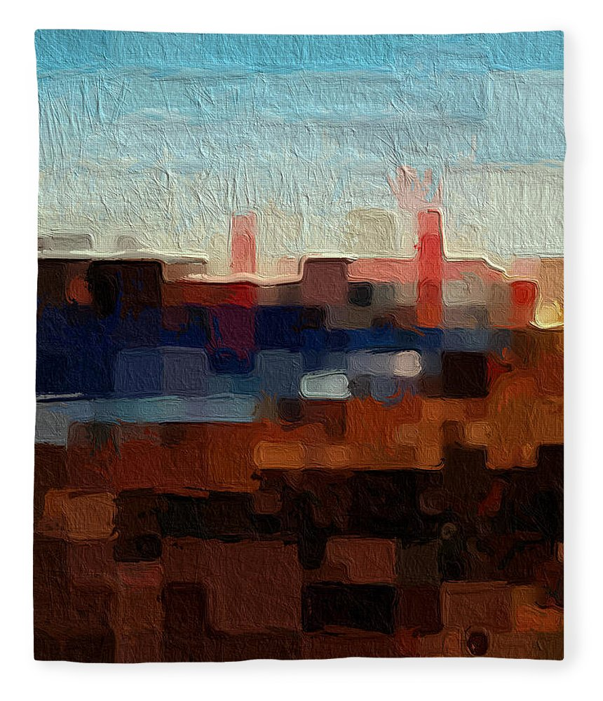 Abstract Art Fleece Blanket featuring the painting Baker Beach by Linda Woods