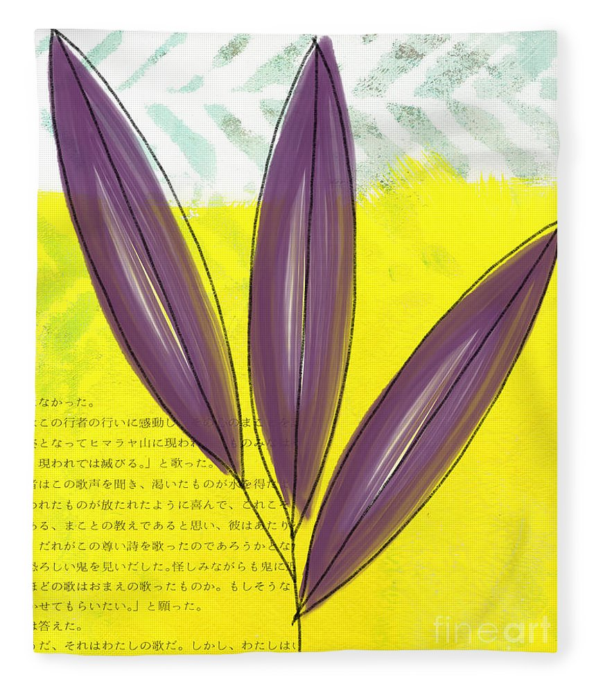 Bamboo Fleece Blanket featuring the painting Bamboo by Linda Woods