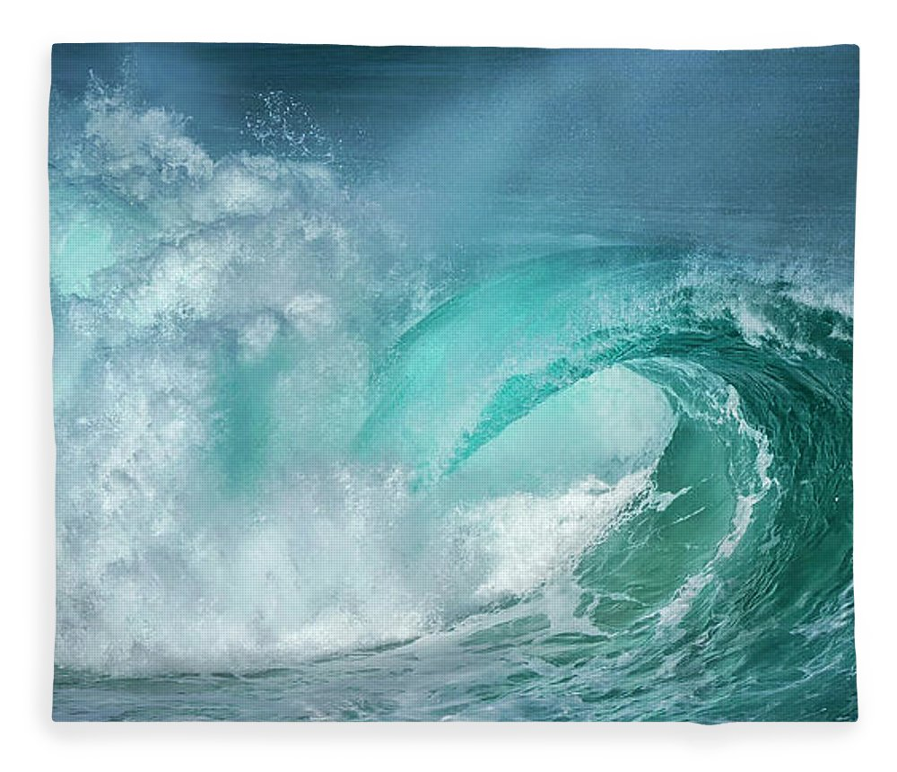 Panoramic Fleece Blanket featuring the photograph Barrel In The Surf by Simon Phelps Photography
