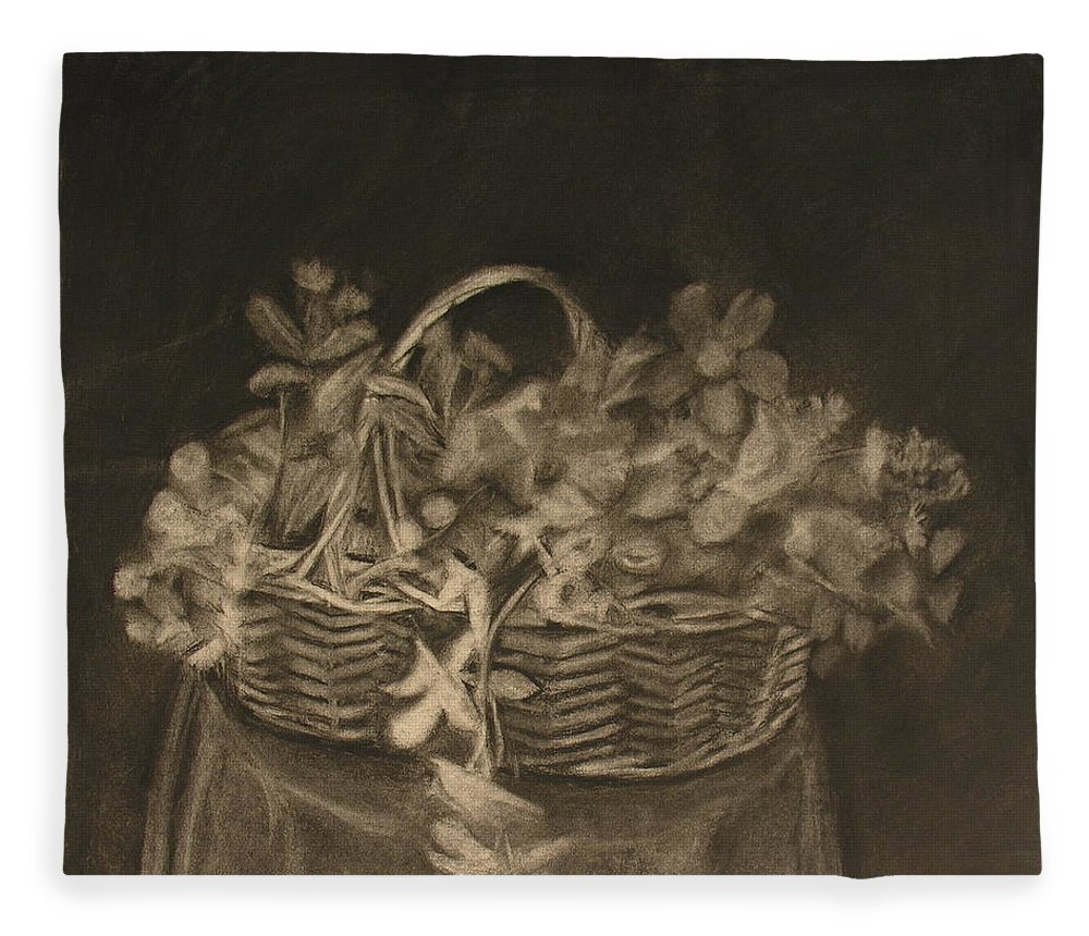 Charcoal Drawing Of Basket Of Flowers Fleece Blanket featuring the painting Basket of Flowers by Sheila Mashaw