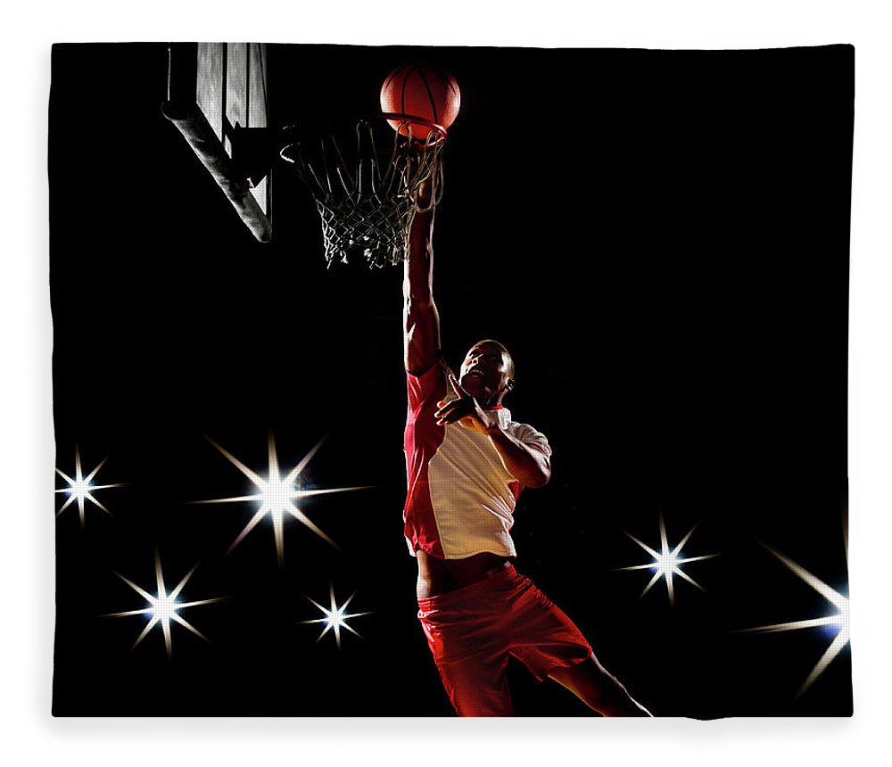 Three Quarter Length Fleece Blanket featuring the photograph Basketball Player Dunking Basketball On by Compassionate Eye Foundation/chris Newton