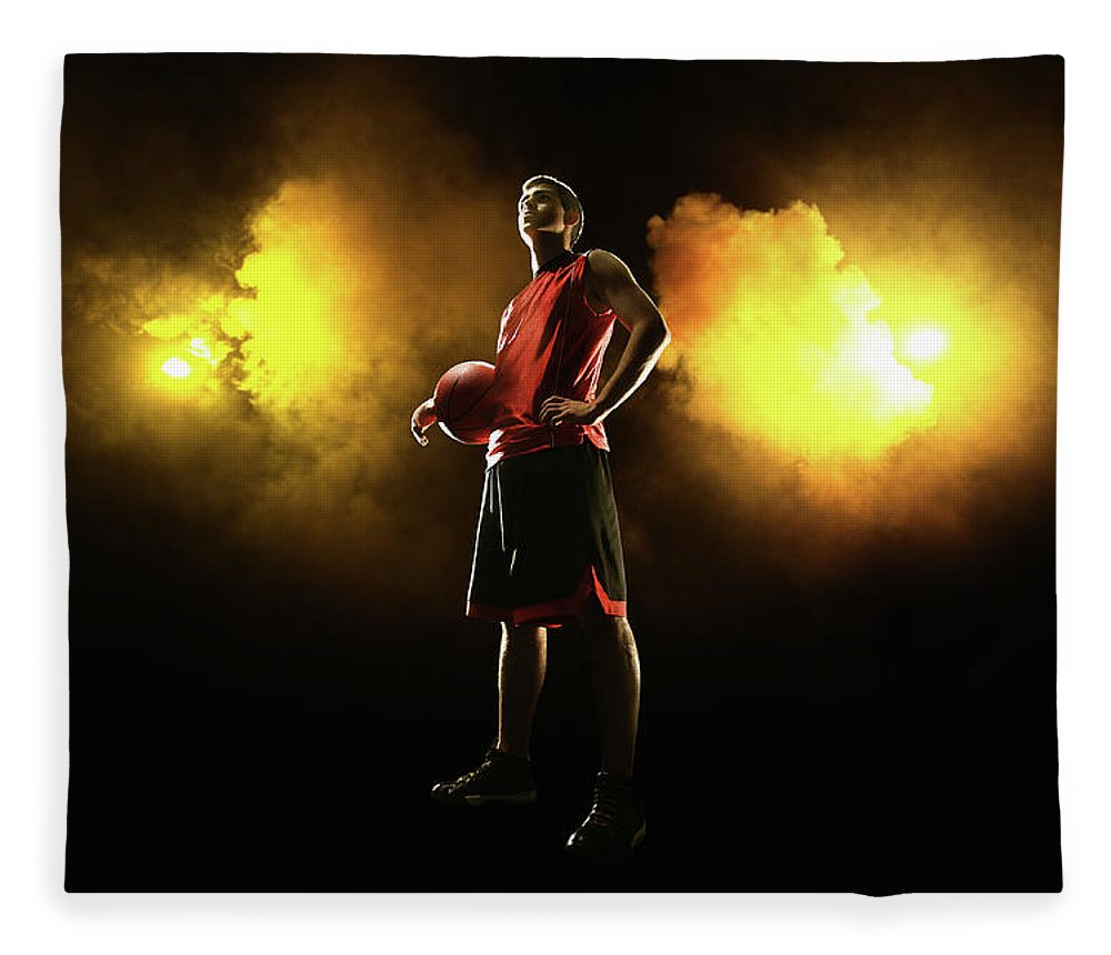 People Fleece Blanket featuring the photograph Basketball Player On Smoky Yellow by Stanislaw Pytel