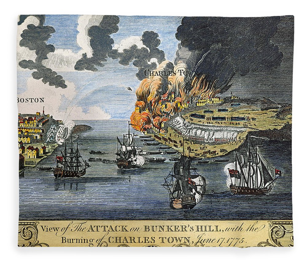 1775 Fleece Blanket featuring the photograph Battle Of Bunker Hill, 1775 by Granger
