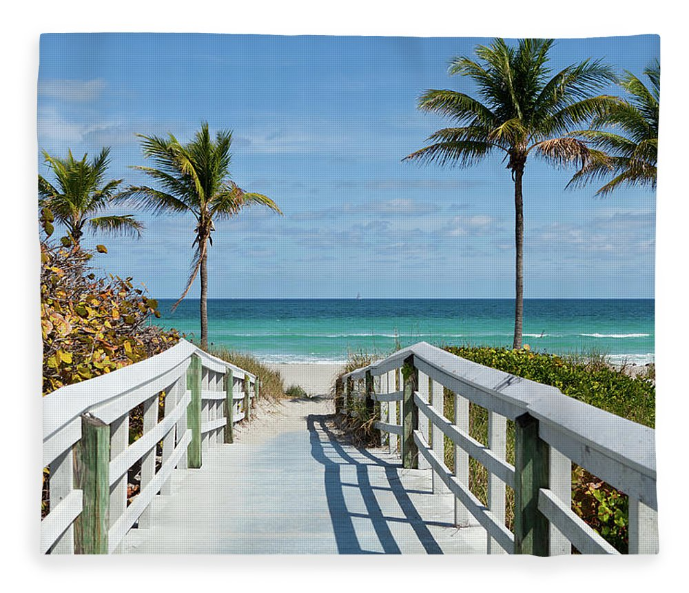 Florida Fleece Blanket featuring the photograph Beach Entrance, Florida by Kubrak78