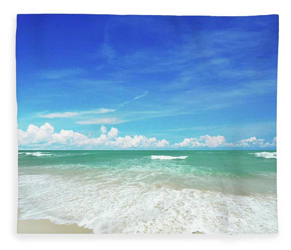 Tranquility Fleece Blanket featuring the photograph Beach by Photo By Arztsamui