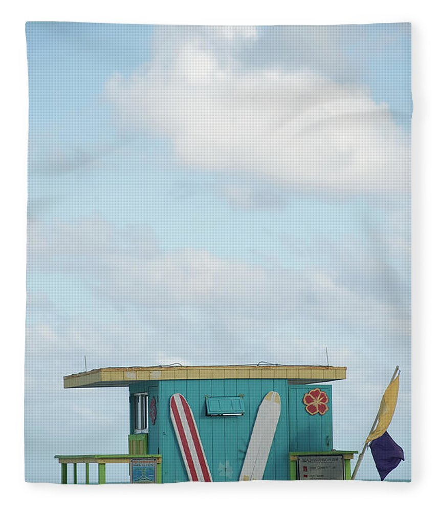 Security Fleece Blanket featuring the photograph Beach Shack by Aaron Mccoy