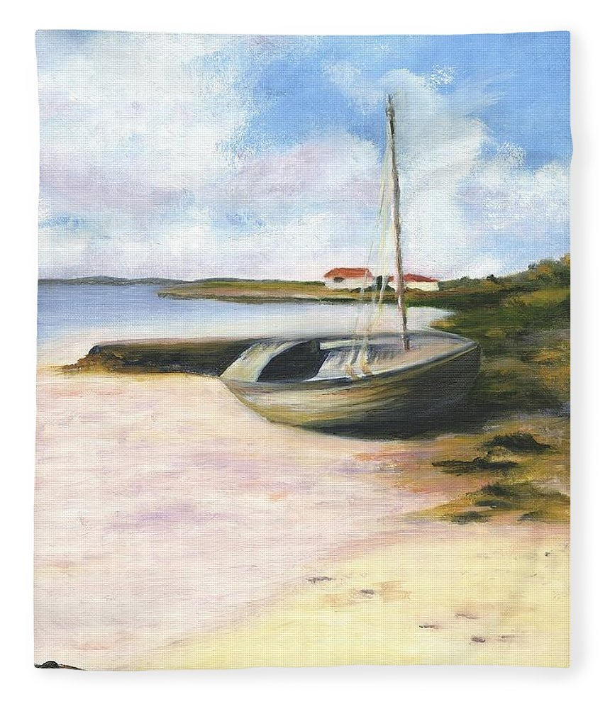 Beach Fleece Blanket featuring the painting Beached by Deborah Butts