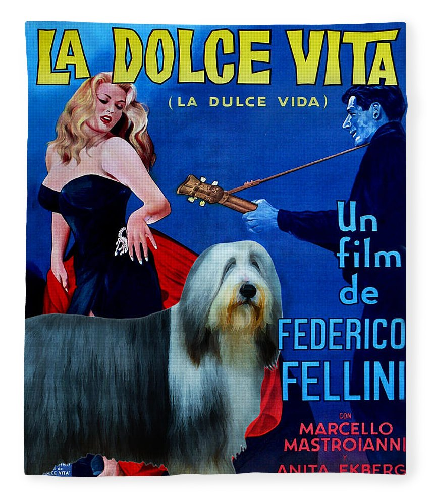 Bearded Collie Fleece Blanket featuring the painting Bearded Collie Art Canvas Print - La Dolce Vita Movie Poster by Sandra Sij