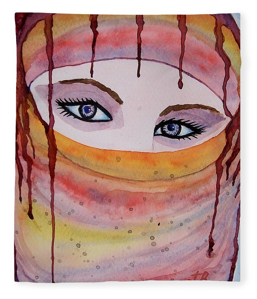 Midlle Eastern Woman Fleece Blanket featuring the painting Beautiful Woman With Niqab Watercolor Painting by Georgeta Blanaru