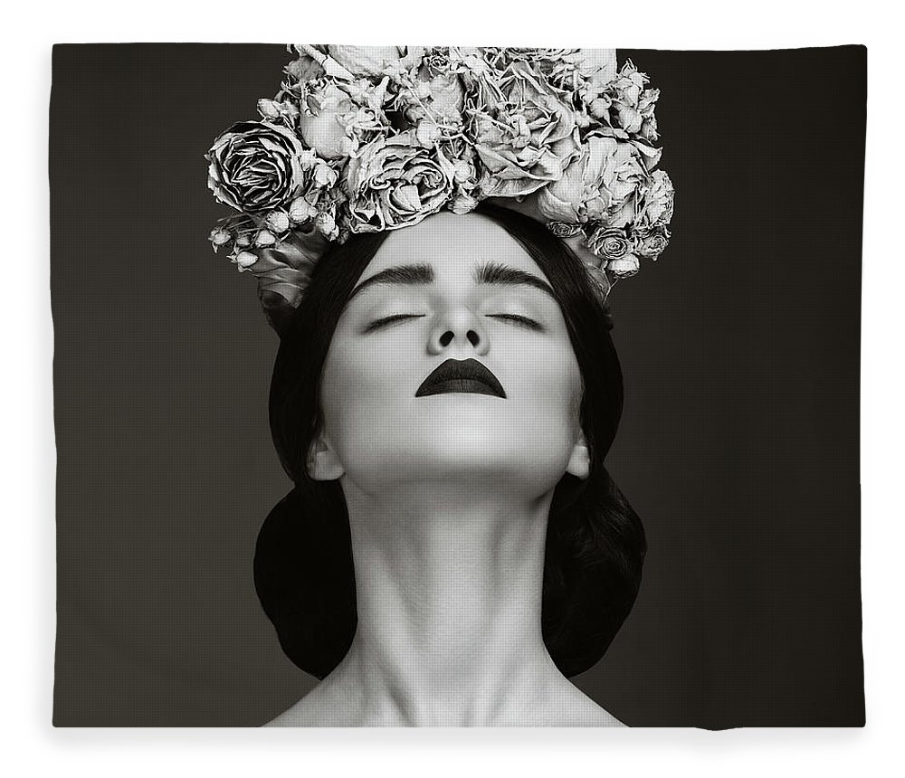 Crown Fleece Blanket featuring the photograph Beautiful Woman With Wreath Of Flowers by Lambada