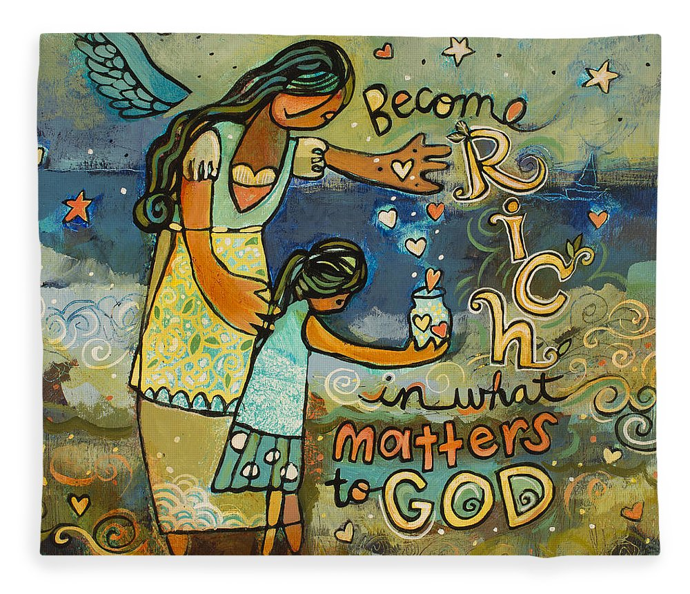 Jen Norton Fleece Blanket featuring the painting Become Rich in what Matters to God by Jen Norton