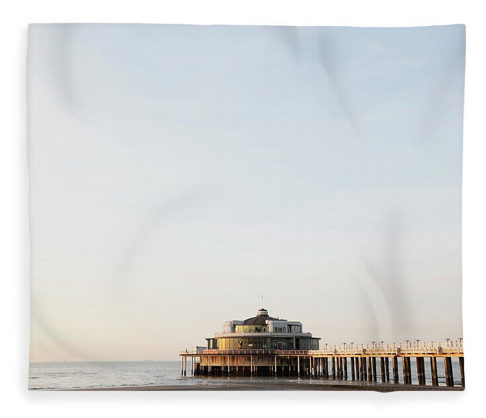 Tranquility Fleece Blanket featuring the photograph Belgium, Blankenberge, View Of Pier At by Westend61