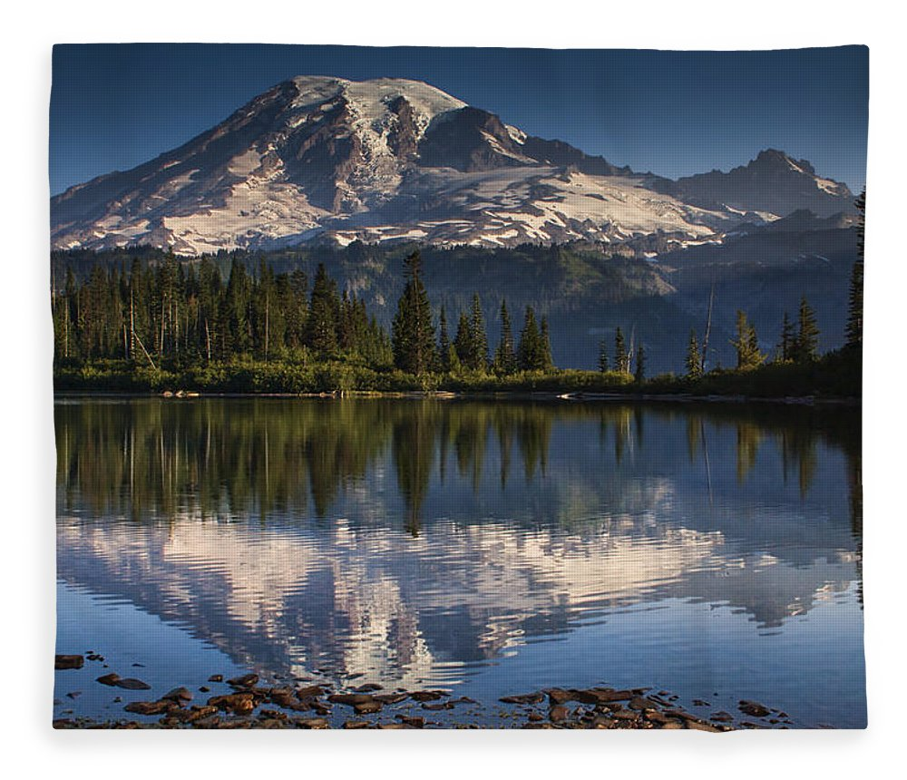 Mount Rainier Fleece Blanket featuring the photograph Bench Lake Sunrise by Mark Kiver