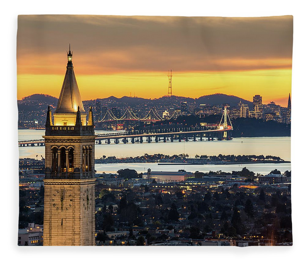 San Francisco Fleece Blanket featuring the photograph Berkeley Campanile With Bay Bridge And by Chao Photography