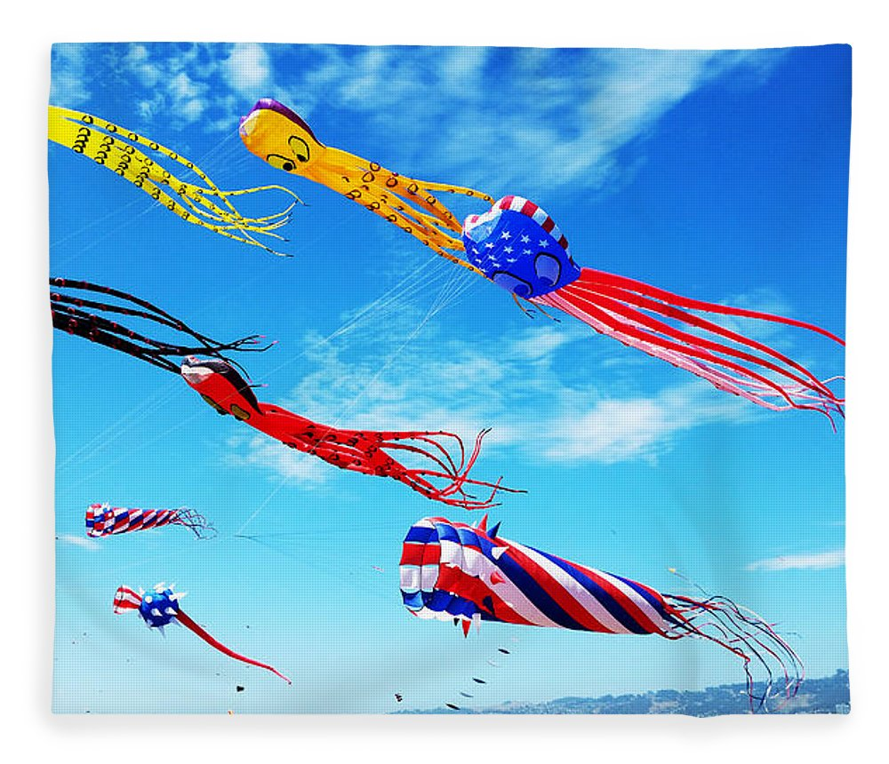 Kites Fleece Blanket featuring the photograph Berkeley Kite Festival 1 by G Matthew Laughton
