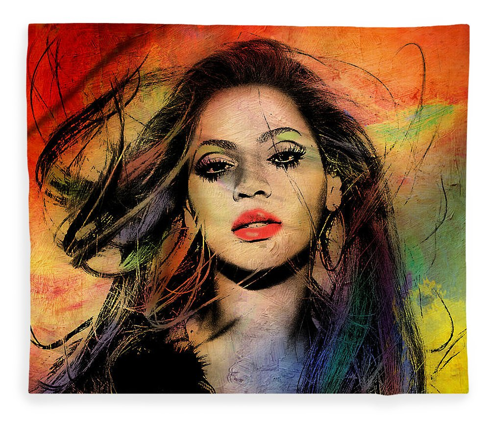 Beyonce Fleece Blanket featuring the painting Beyonce by Mark Ashkenazi