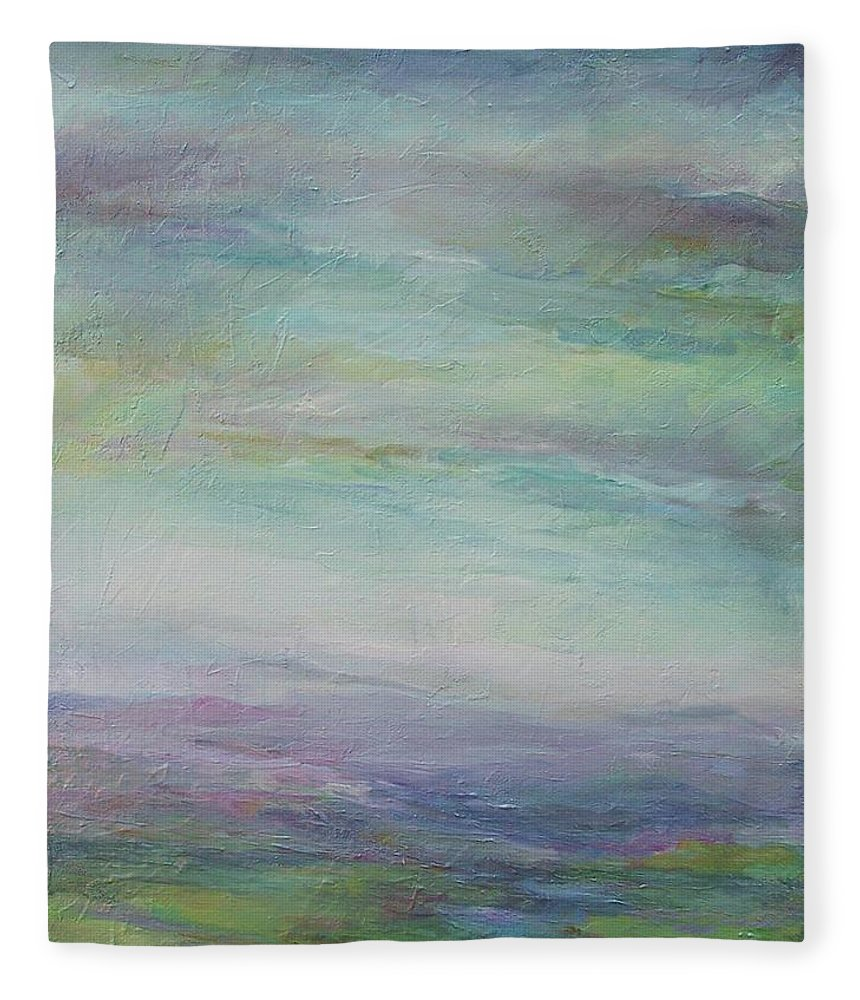Landscape Fleece Blanket featuring the painting Beyond The Distant Hills by Mary Wolf