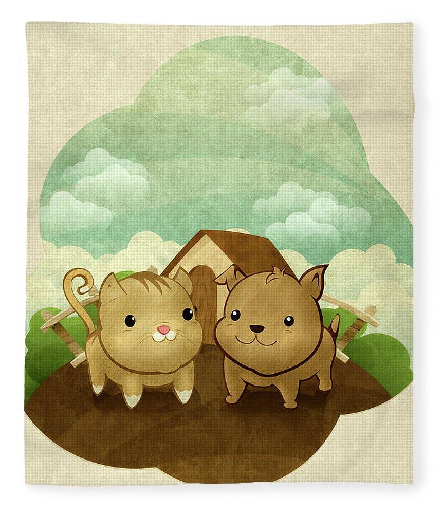Pets Fleece Blanket featuring the digital art Bichos by Por Caio Ramos
