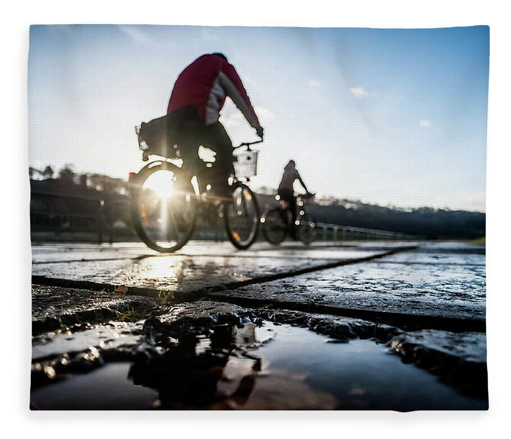 People Fleece Blanket featuring the photograph Bicycles by A. Aleksandravicius
