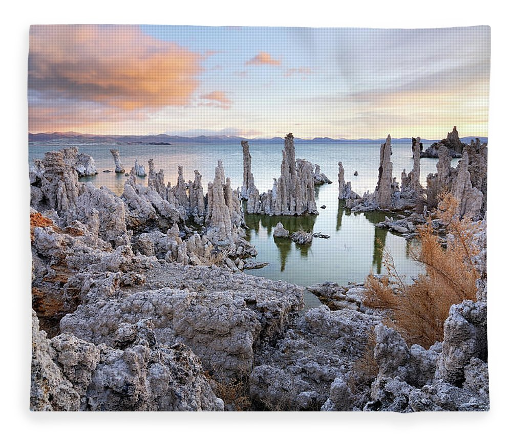 Water's Edge Fleece Blanket featuring the photograph Big Cloud Above Tufas On Mono Lake by Rezus