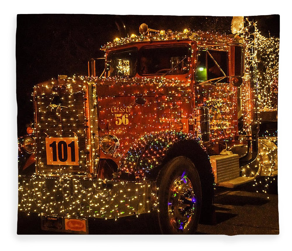 big rig fleece blanket featuring the photograph big rig with christmas lights by garry gay