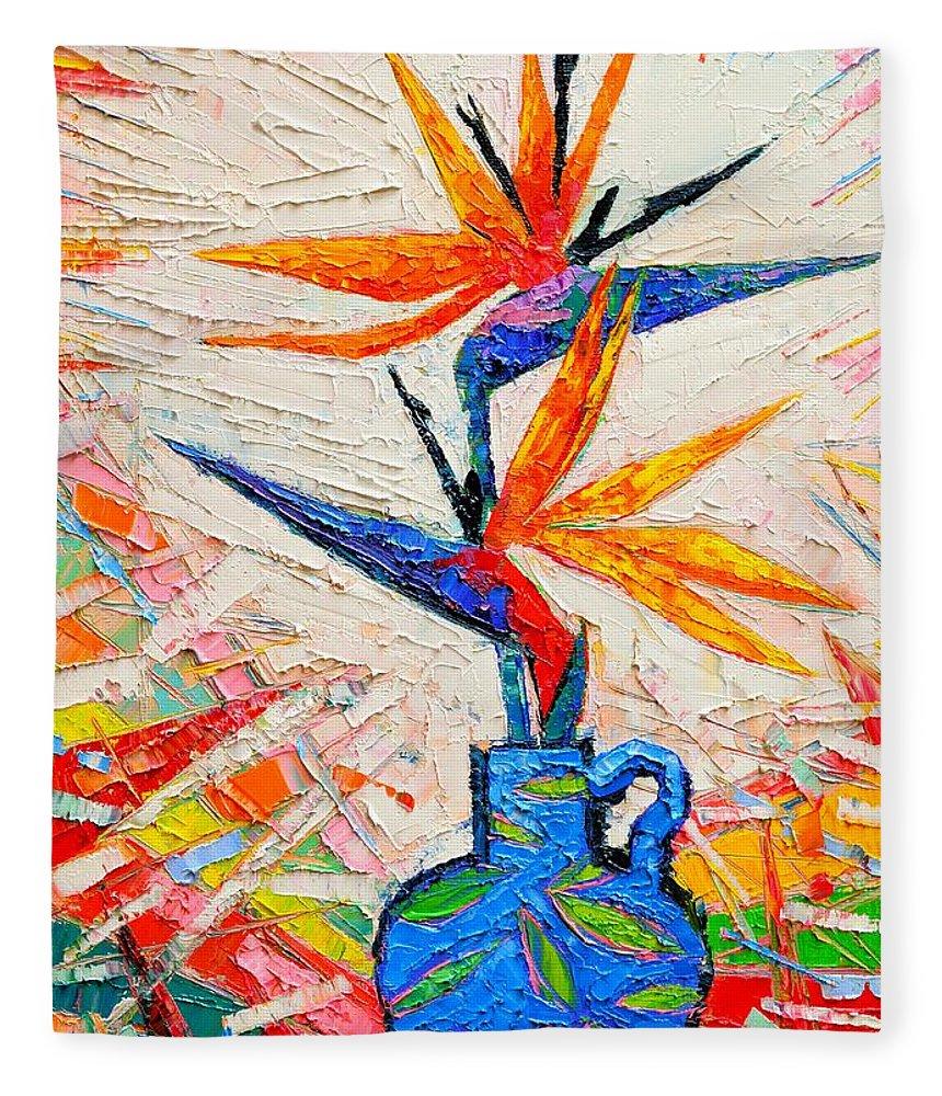 Bird Fleece Blanket featuring the painting Bird Of Paradise Flowers by Ana Maria Edulescu