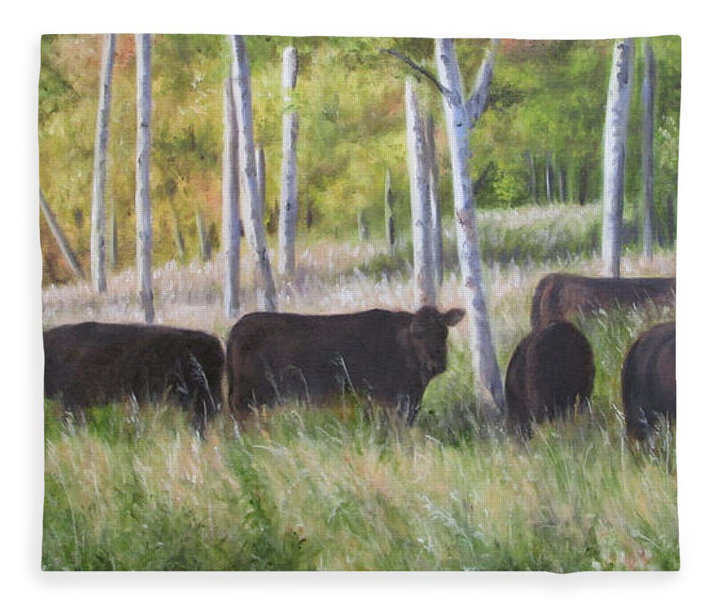 Black Angus Fleece Blanket featuring the painting Black Angus Grazing by Tammy Taylor