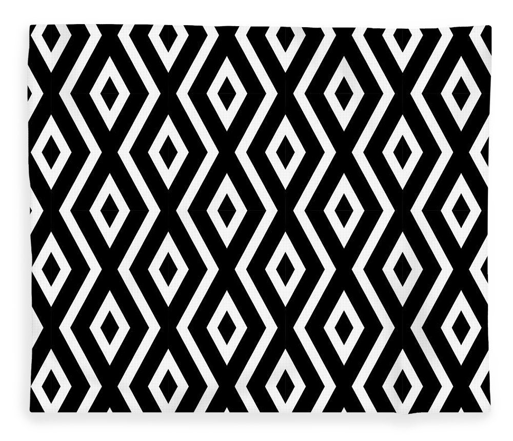 Black And White Fleece Blanket featuring the mixed media Black and White Pattern by Christina Rollo