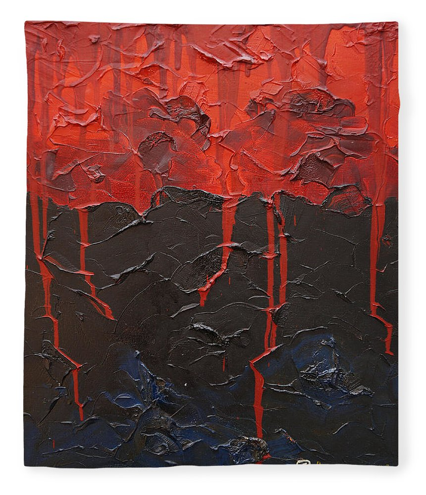 Fantasy Fleece Blanket featuring the painting Bleeding sky by Sergey Bezhinets