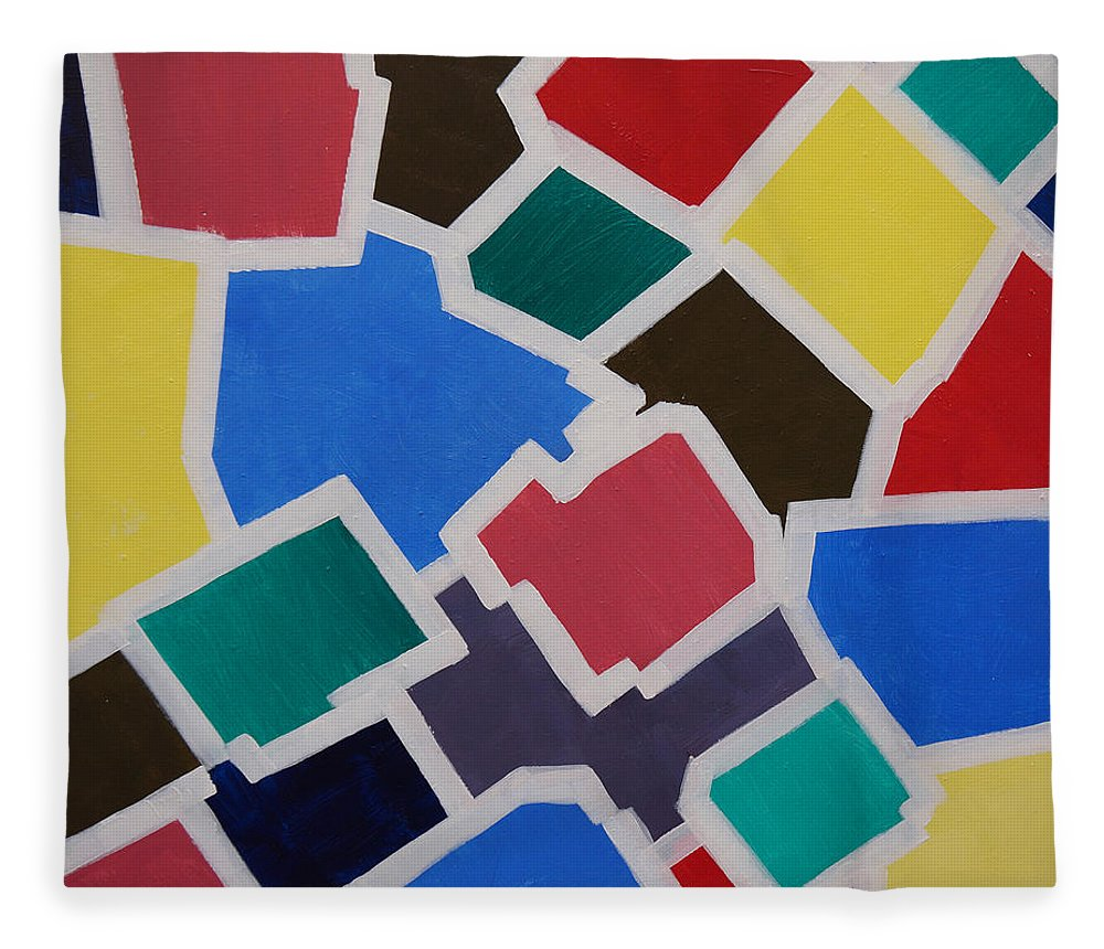 Acrylic Fleece Blanket featuring the painting Outside the Box by Sergey Bezhinets