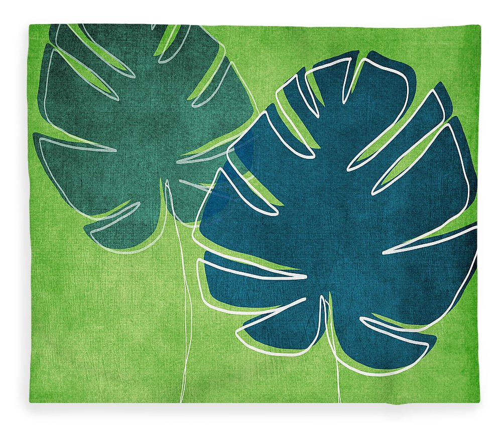 Palm Tree Fleece Blanket featuring the painting Blue and Green Palm Leaves by Linda Woods
