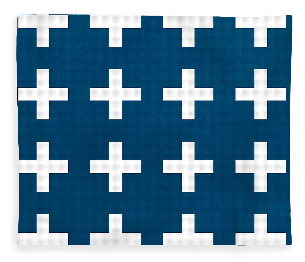 Blue Fleece Blanket featuring the painting Blue And White Plus Sign by Linda Woods