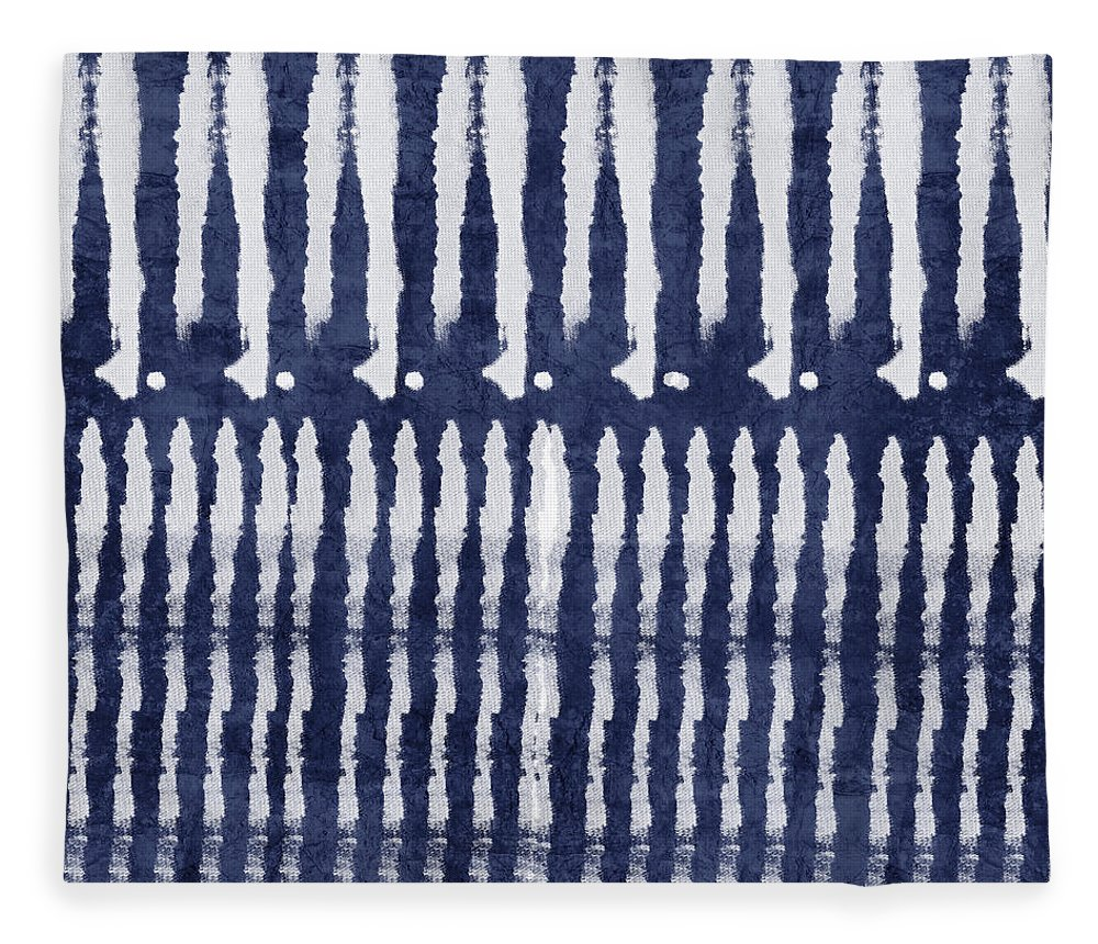 Blue Fleece Blanket featuring the painting Blue and White Shibori Design by Linda Woods