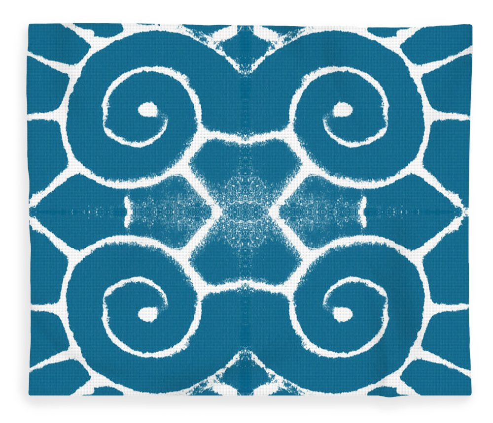 Wave Fleece Blanket featuring the painting Blue and White Wave Tile- abstract art by Linda Woods