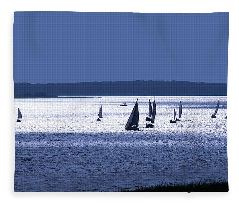 Sailing Fleece Blanket featuring the digital art Blue Armada II by Douglas Pittman