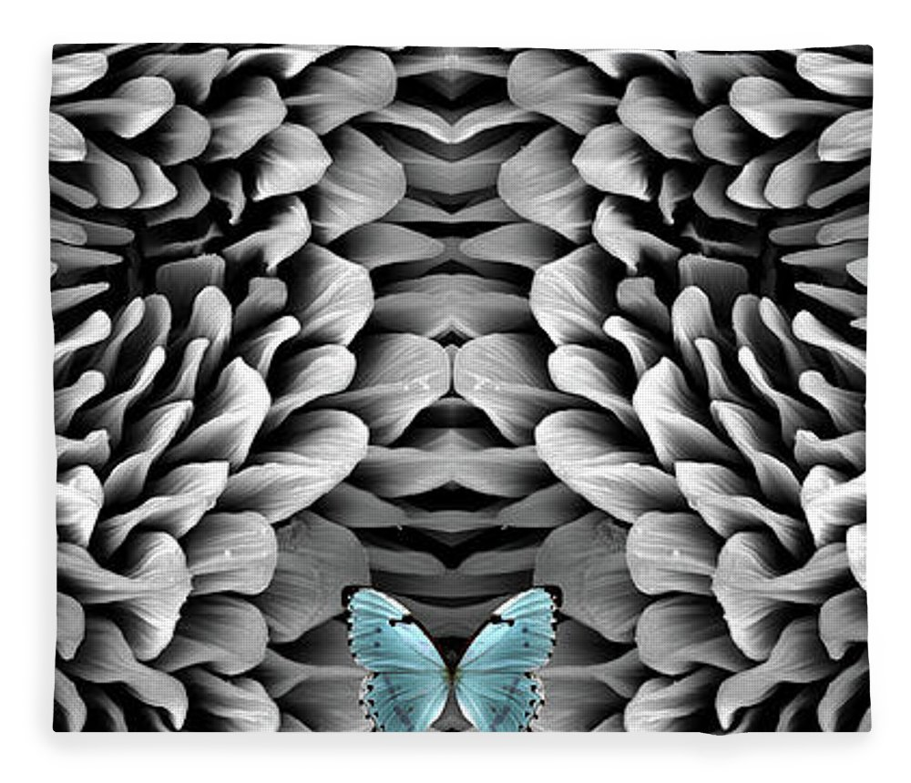 Microscope Fleece Blanket featuring the photograph Blue Butterfly And Antenna by Sheri Neva
