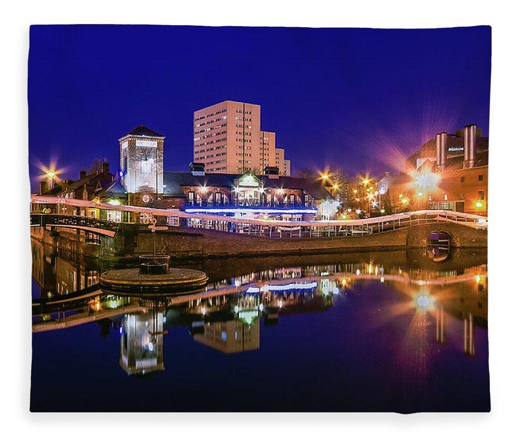 Birmingham Fleece Blanket featuring the photograph Blue Hour In Birmingham by Fiona Mcallister Photography